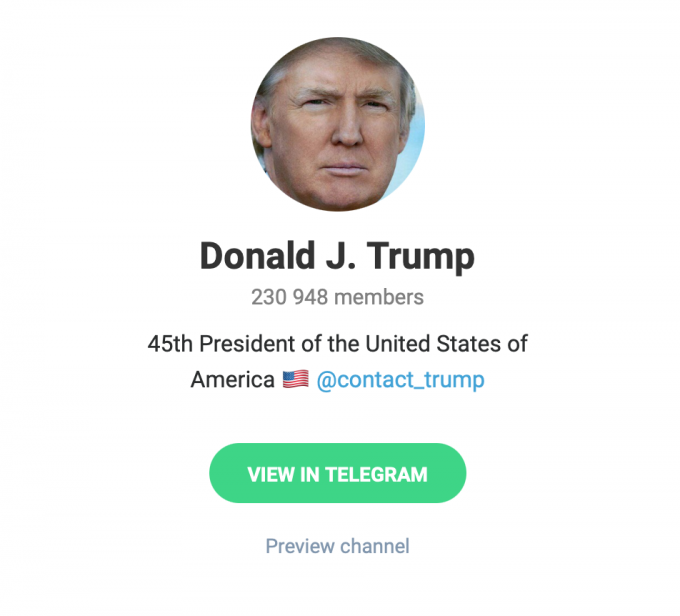 Дональда Трампа выгнали из всех соцсетей. Похоже, он перешел в Telegram